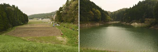 今回は、石川県羽咋市にある小さなダムのすぐ下にある田んぼが、「大地の再生講座」の開催地。ダムの堰(せき)から見た田んぼと、ダムの内側。