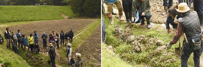 ダムの下に広がる田んぼの「水脈環境」を整えるために、側溝の草刈りと、詰まった土を取り除くよう指導する矢野さん。
