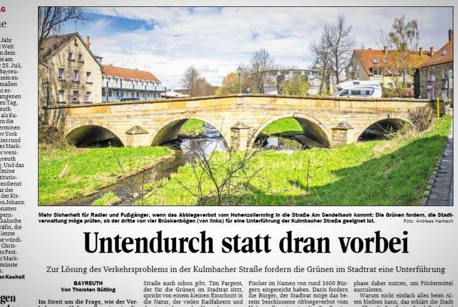 Schlagzeile im Bayreuth-Teil des Nordbayerischen Kurier am 16.04.18