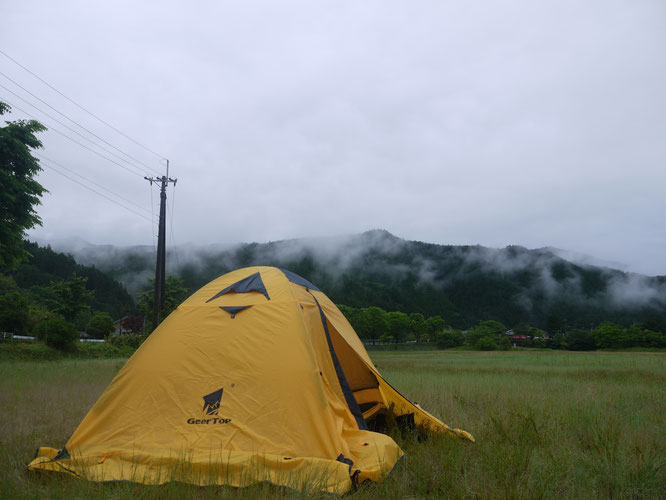 Day 2 camping in the rain on a pilgrim hike