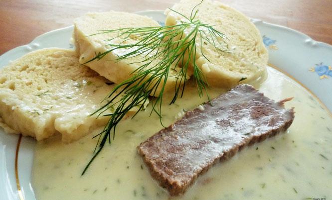 Koprovka aus Böhmen Dillsoße mit Fleisch und Knödel Oligarto rezepte
