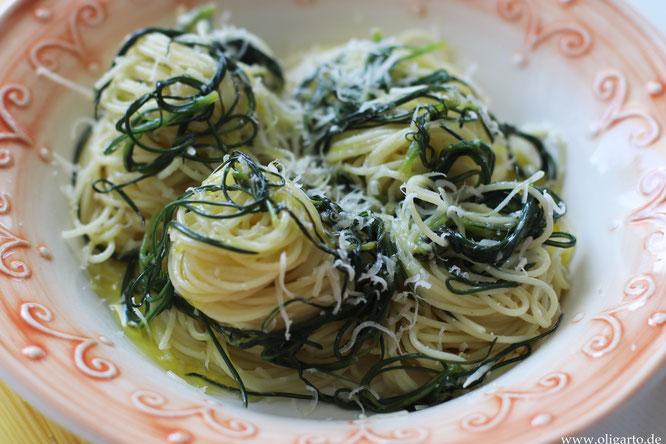Capellini mit Mönchsbart und Parmesan Oligarto Rezepte Olivenöl