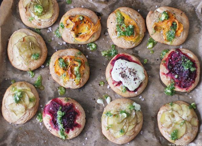 Kleine Gemüsefladen mit Salsa Rezepte Oligarto Small vegetable patties with delicious salsaS
