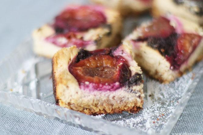 Mohn-Quarkkuchen mit Zwetschgen ohne Mehl Oligarto Backen mit Olivenöl