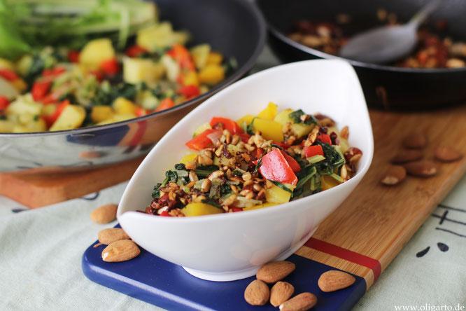 Stielmus mit Gemüse und salzigem Granola Oligarto Rezepte Vegan