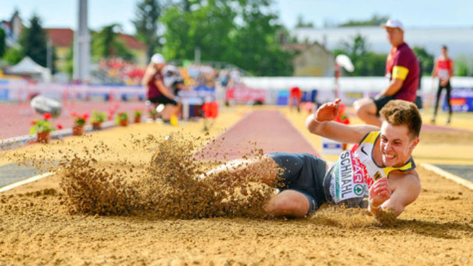 Mit 7,60 Meter gewann Nick Schmahl die U18-Europameisterschaft im Weitsprung. © Fehmarn24/Kai Peters