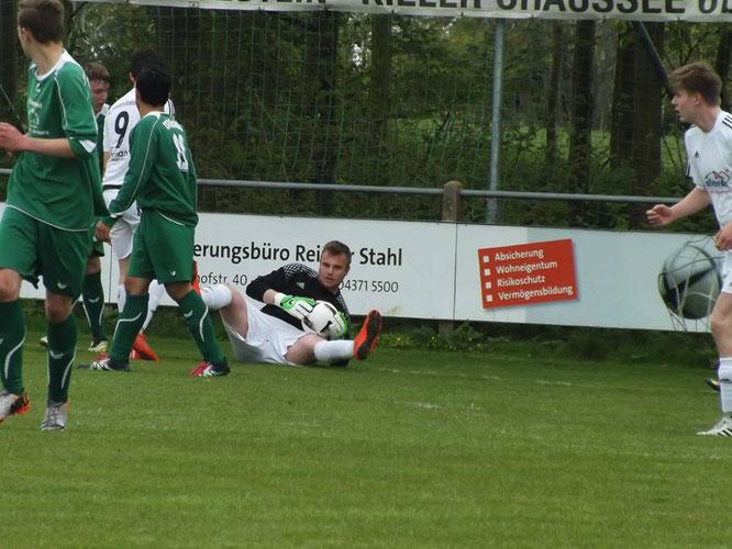 Stürmer Philipp Neuenfeldt behielt als Ersatztorwart eine weiße Weste. Foto:Obada Shareif