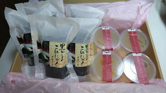 黒ゴマコンニャク、柚子を使ったマンナンジュレの写真