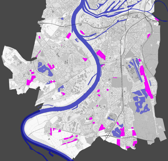 Abbildung 2: Neubaugebiete gemäß FNP (Quelle: https://www.duisburg.de/microsites/pbv/planen_bauen/fnp-vorentwurf-2016.php)