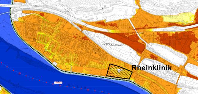 Wassertiefen bei Überschwemmung: < 1 Meter (gelb), 1 bis 2 Meter (hell orange), 2 bis 4 Meter (dunkel orange),  > 4 Meter (rot) Bildquelle: https://www.flussgebiete.nrw.de