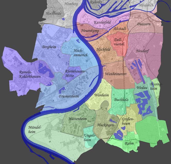 Abbildung 1: Abgrenzung der Stadtteile südlich der Ruhr (Kartengrundlage: https://www.geoportal.nrw/themenkarten)
