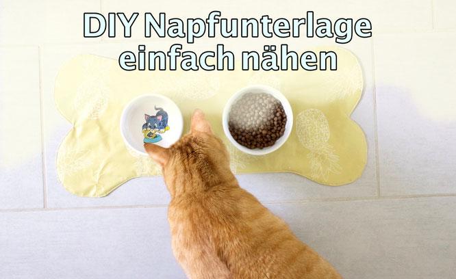 Kostenlose DIY Anleitung. Einfache Napfunterlage nähen für Hund oder Katze.
