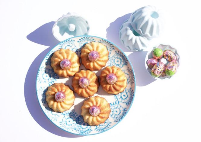 Rezept. Leckere Minigugelhupf mit Erdbeere Flavour. Minikuchen. Minigugel.