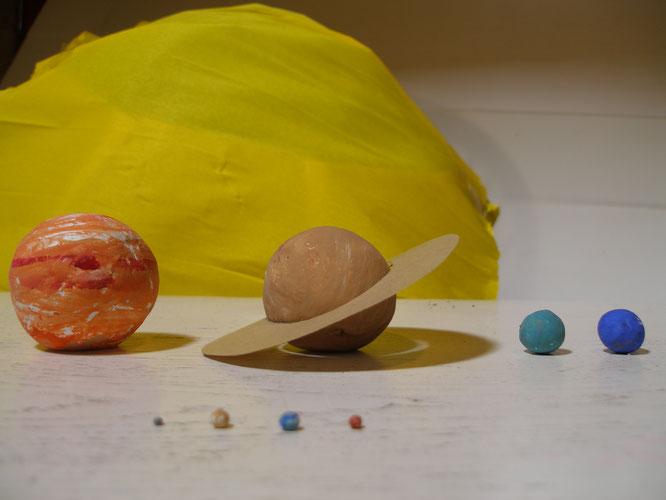 Modélisation des astres du système solaire  (Soleil : ballon de gymnastique et papier crépon ; planètes : pâte à modeler argile-cellulose, peinture gouache ; anneaux de Saturne : papier craft et épingles à tête)