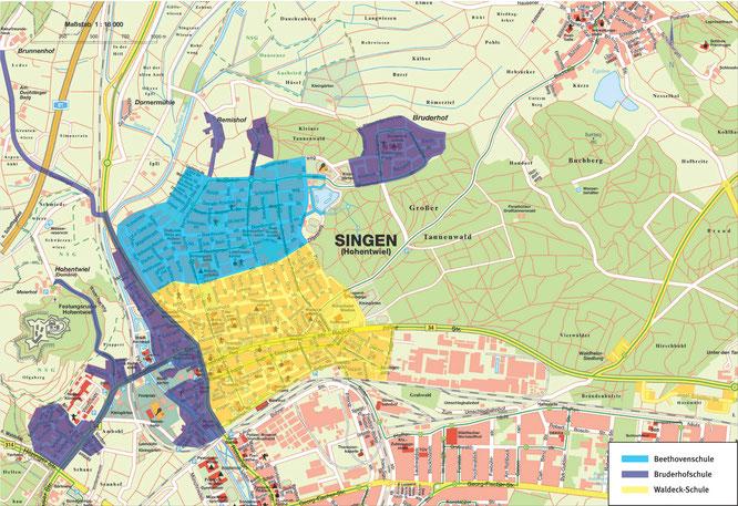 Aktuelle Schulbezirke für die Grundschüler der Nordstadt Singen