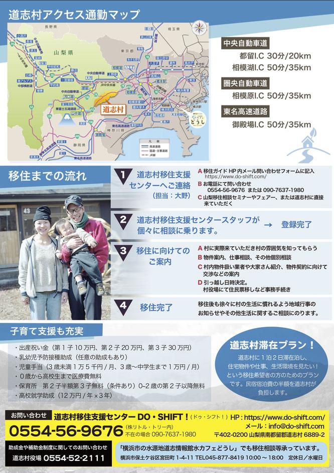 道志村移住支援助成制度チラシ裏