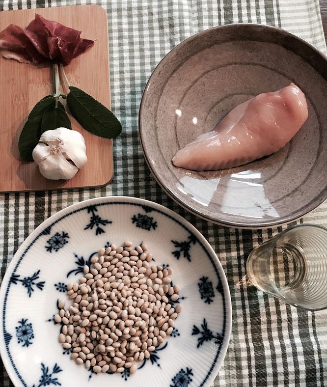 Zutaten für Saltimbocca alla Romana mit Cannellini-Bohnen