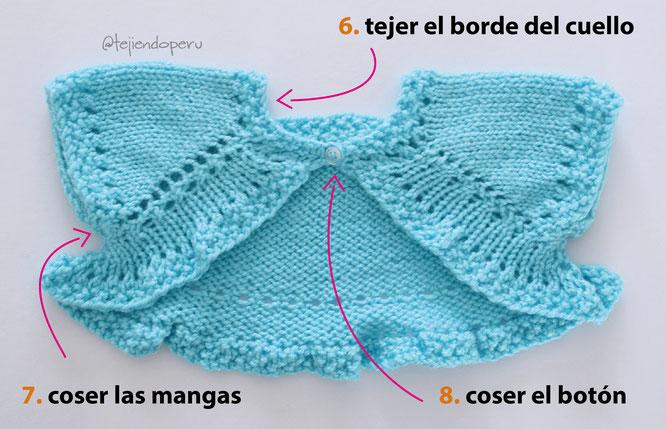 Bolero mariposa para niñas en 3 tallas tejido en dos agujas o palitos!