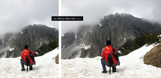 Zielpunkt: Augstenberg, Gipfel (2.359 Meter), hier auf halber Strecke Nähe Bergstation Sareis. Das Ende? Mitnichten. Der a) völlig vernebelte Naafkopf (2.571 Meter) und b) der strapaziöse Abstieg wartet!