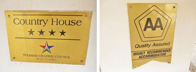 4 Sterne, mit diesem Siegel dennoch erstklassig - Country Houses in Süd Afrika...
