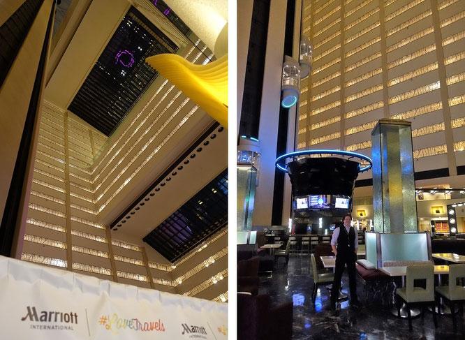 Nach dem Rainbow Room in der 65. Etage des Rockefeller Plaza beherbergt das Marquis das zweithöchste Restaurant New Yorks. Rechts kurz vor meinem Aufstieg zum aktuell anberaumten Dinner...