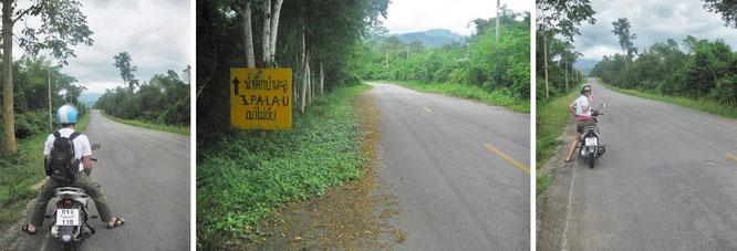 Immer feste Bodenhaftung auf der 3219 in Richtung Westen (Myanmar): So gestaltet sich der - je weiter Ihr Euch Eurem Ziel nähert - zumeist wolkenverhangene Weg nach Pala U!