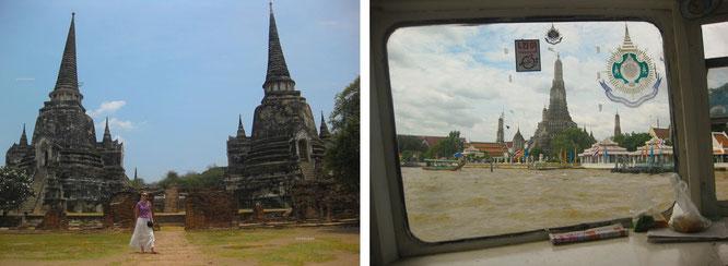 ...historisches Ayutthaya (links, 14° 21′ 0″ N, 100° 35′ 0″ E ) und Wat Arun, Bangkok (rechts, 13° 44′ 37.36″ N, 100° 29′ 20.18″ E  )!