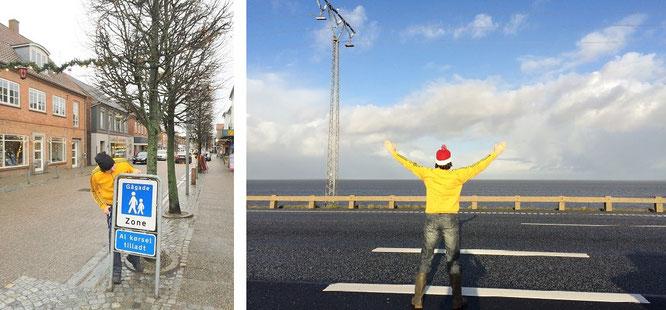 Zu Weihnachten in Kopenhagen, kurz vor der Überfahrt über die Öresundbrücke nach Schweden (links) und auf der Brückenkonstruktion. Welcome to Sverige...