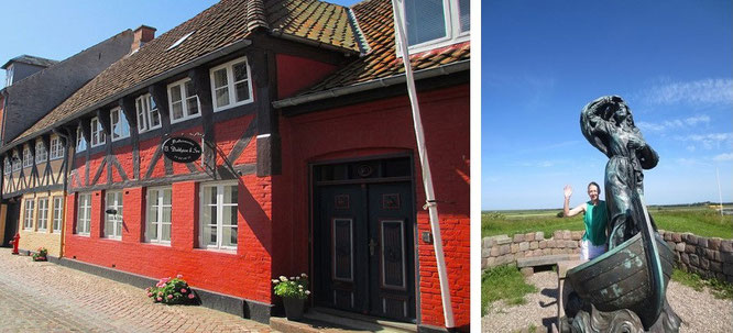 Ribe (55° 19′ 40.83″ N, 8° 45′ 40.58″ E). Rechts: Riberhus Slotsbanke - Mona-Liza und Dagmar Ahoi!