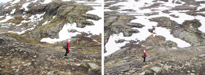 In den beinahe nicht enden wollenden Schneewüsten in Richtung Trolltunga: verliert Ihr Euch aus den Augen, kann gegenseitige Lokalisierung  - achtet bei Eurer Kleiderauswahl auf Signalfarben - zuweilen schwierig werden...