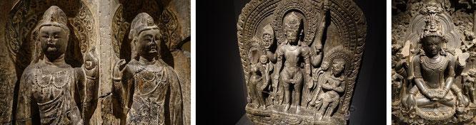 Bodhisattvas, Vishnu (mit Lakshmi und Garuda) & Shiva, Indien...