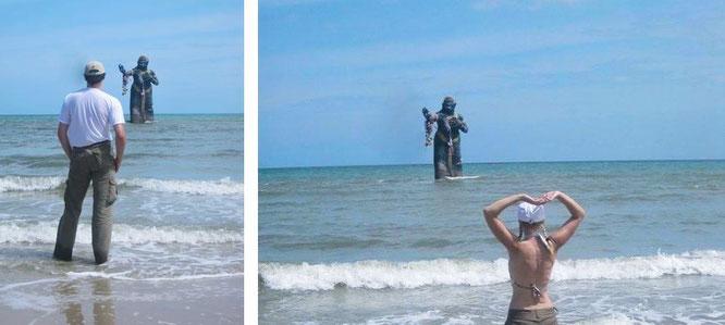 Hat Puek Tian, Cha Am: Pee Seua Samut erhebt sich aus den Wellen des Golfs von Thailand empor (12° 56′ 43.22″ N, 100° 1′ 59.48″ E)...