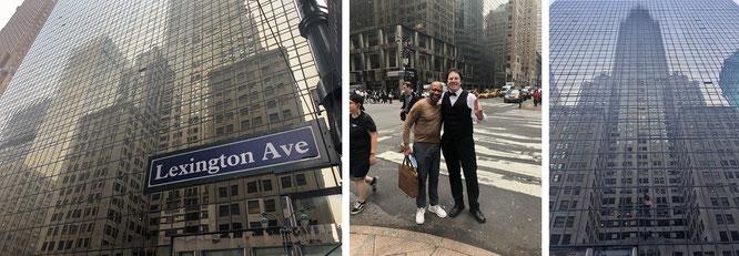 """Großartig: mit Schrifsteller Carl L. Conway in New York City, Lexington Ave, im Schatten des Chrysler Buildings. In Carls Hand ist der blaue Einband Rob Walkers Werk """"The Art of Noticing zu erkennen..."""