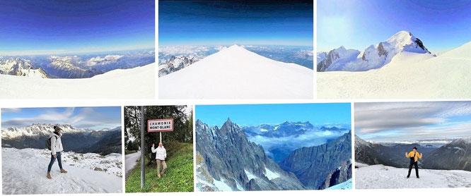 Gipfel des Mont Blanc (4.810 Meter, ohne Mona-Liza) & im Dunstkreis des Aiguille du Midi (3.842 Meter, inklusive Mona-Liza)...