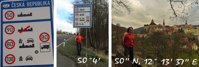 """Entering Czech Republic (l.) and Loket (CZ, r.)."""