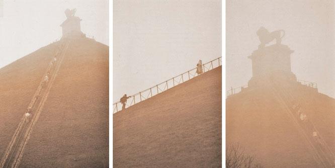"""The Fog (""""Nebel des Grauens""""): Waterloo (50° 40′ 42″ N, 4° 24′ 17″ E) – The Lion's Mound/Butte du Lion/Lion's Hillock/Leeuw van Waterloo/Leeuwenheuvel/Löwenhügel. Braine-l'Alleud, Belgium"""