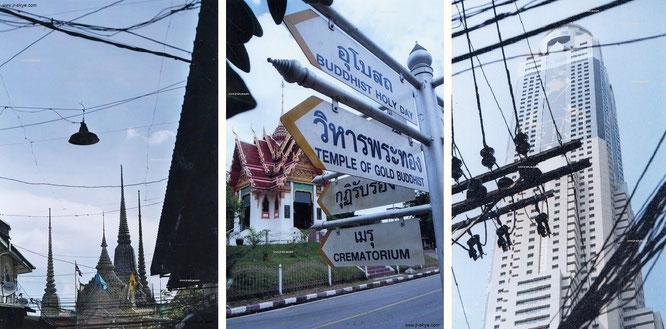 """""""Erleuchtung? Elektrifiziertes Bangkok: Wat Pho (historisch, links) und Baiyoke 2 (modern/""""Drink Dont Drive"""", rechts) #reise #travel #BangkokDangerous."""""""