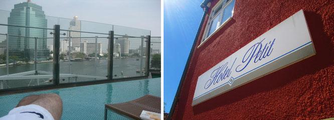 Zahlreichen Globetrottern ist die Silhouette links - und damit das entsprechende Hotel - geläufig: Nicht ganz mein Geschmack, rechts eine Wohlfühloase in Skagen (Dänemark)...