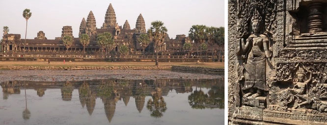 Geniale Khmer-Architektur ស្ថាបត្យកម្ម ខ្មែរ: Angkor Wat,  Siem Reap, Kambodscha - 13° 26′ 0″ N, 103° 50′ 0″ E