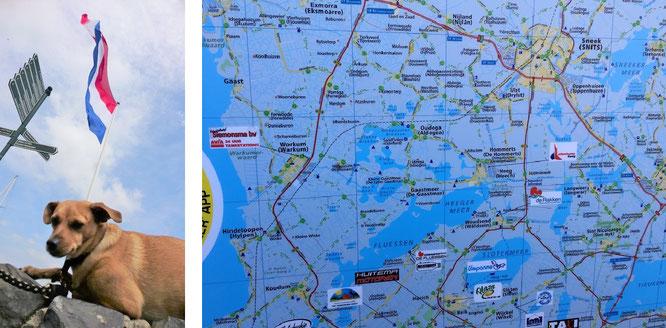 Per klick vergrößerbar: ein großer Gruß an Pitti (links) - die sich mit Petra und weiteren Freunden spontan auf den Weg gemacht hat, um unseren Spuren in Hindeloopen zu folgen. Rechts das Einzugsgebiet Sneek - Hindeloopen!
