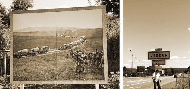 Welch unwesentliche Komplikation: Besuch Verduns unmittelbar nach meiner größten - und einzigen - Sportverletzung (Achillessehnenriss), rechts mit Krücken, 08/08/2018, links Memorial südlich Stadtmitte...