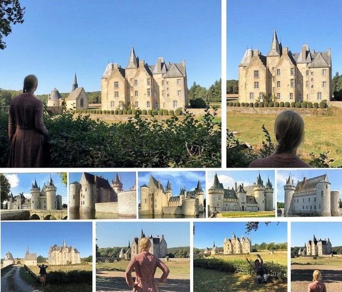 Château Bourgon, Belgeard, Commune de Montourtier, Département de la Mayenne, Pays de la Loire (48° 13′ 23″ N, 0° 33′ 40″ E) & Chateau Sully-sur-Loire, Loiret, Centre-Val de Loire ( 47° 45′ 55″ N, 2° 22′ 31″ E)...