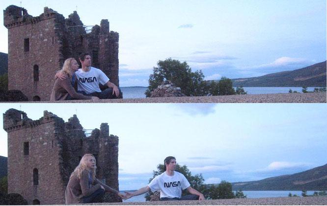 Loch Ness, Urquhart Castle: Collage einer ganzen Serie von Fotos, die Brennan (Dingle-Halbinsel, Republik Irland) angefertigt hat. Danke für sämtliche Bilder! Mehr auf meiner Schottland-Seite...