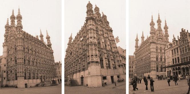 """Das wahrscheinlich schönste Gebäude Belgiens: """"Löwen - Leuven - Louvain: Town Hall, Brabantine Late Gothic style, 1448 - 1469."""""""