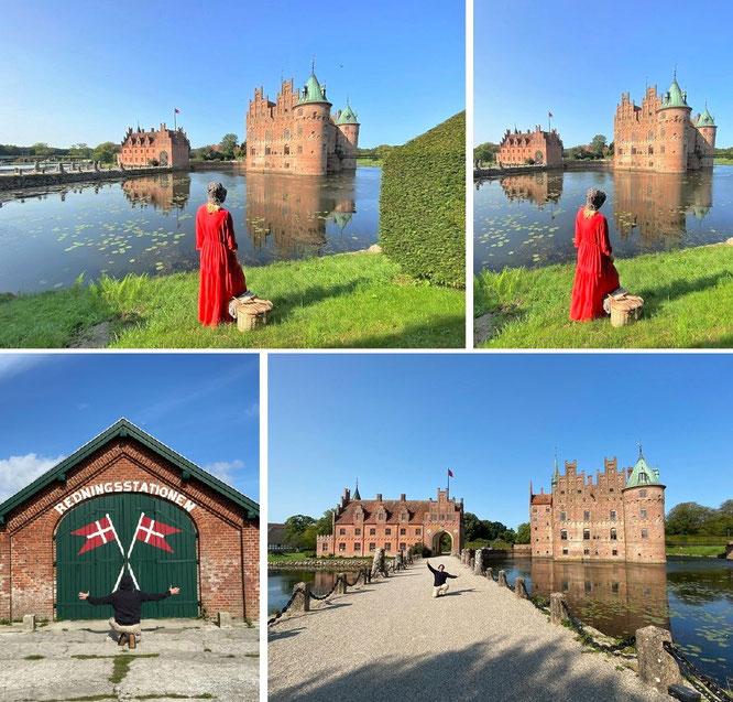 """...with Mona-Liza at Egeskov Slot, Kværndrup Sogn, Fyn/Fünen - 55° 10′ 35″ N, 10° 29′ 22″ O. From Amalienborg to Voergaard Castle, from Rosenborg to Frederiksborg and from Kronborg to Lykkesholm & Holckenhavn."""