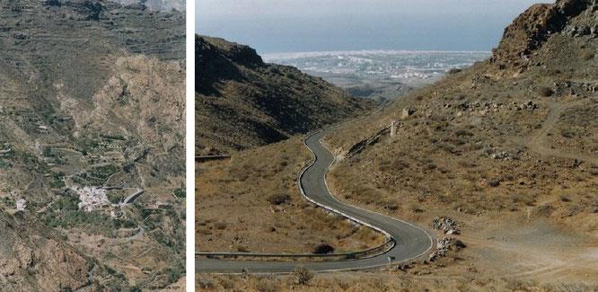 Erstklassig ausgebaute Bergstraße von Maspalomas hinauf nach Tejeda: Nicht alle Straßen sind so gut befestigt, oft fehlen Leitplanken und Markierungen (rechts). Weiße Dörfer (Erinnerungen an Andalusien steigen in mir auf) befinden sich im Inselinneren...