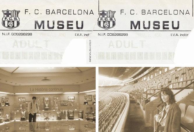 """""""FC Barcelona, my first visit (with Sonja)."""" Links: hier stehe ich vor dem Pokal der Pokale (CL, rechts) und Sonja mit kritischem Blick vor der La Liga/Primera División-Partie gegen  Athletic Bilbao (rechts)..."""