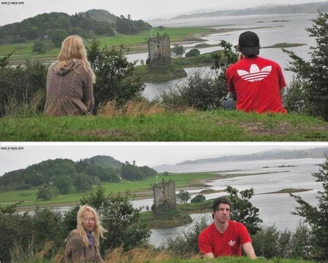 Castle Stalker - eingebettet in eine düstere, nicht nur in der Nachbetrachtung im Nebel dahin wabende Landschaft.  Zu- und abgewandt...