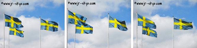 "Beate: ""Gesetz über Schwedens Flagge"", 1 §: >Sveriges flagga är blå med ett gult kors. Korset är vinkelrätt ställt mot flaggans kanter.< Also: ""Blaue Flagge mit gelbem Kreuz, das rechtwinklig zu den Rändern der Flagge ausgerichtet ist."""