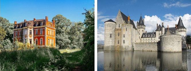 ...farbenfrohe Maisons & Châteaus. Château de Sully-sur-Loire (r., 47° 46′ 3.3″ N, 2° 22′ 31″ E)...